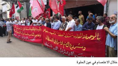 Photo of اعتصام لـ«الديمقراطية» في عين الحلوة رفضاً واستنكاراً لقرار الضمّ الصهيوني