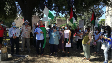 Photo of وقفة احتجاجيّة أمام سفارة الإمارات في روما تنديداً بالتطبيع مع الكيان الغاصب